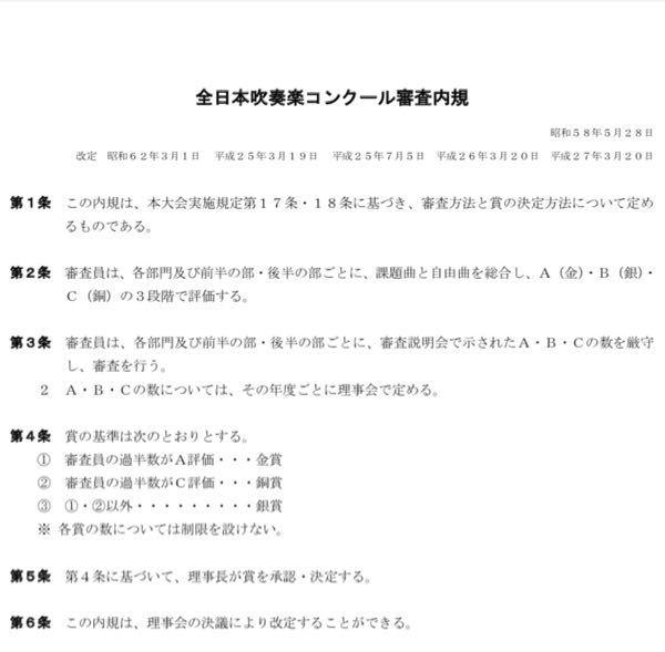 全日本吹奏楽コンクール 賞の数は決まってないと書いてて おもしろいですよね? 第4条 賞の基準は次のとおりとする。 1 審査員の過半数がA評価・・・金賞 2 審査員の過半数がC評価・・・銅賞 3 1・2以外・・・・・・・・・銀賞 ※ 各賞の数については制限を設けない