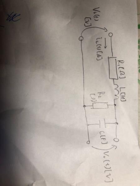 この回路のシステム方程式を教えていただけないでしょうか?最初の式の組み立てがわからないです。もしこの回路でR2が無ければvin(t)=R1iL(t)+L・diL(t)/dt+1/C・∮iL(t)、そしてvo(t)=1/C・∮iL(t)となるのは分かりま すが並列の場合が分かりません…どなたか最初の立式だけでも教えて頂けないでしょうか?