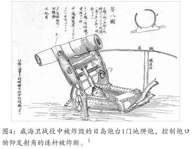 """残炮尾部炮闩已经缺失,对比上图可知,尾部的6个孔洞,正是用来固定pao闩的螺丝孔;尾部炮管内的螺纹明显属于""""间断螺纹式""""。据此可以认定,残炮无疑是英式阿姆斯特朗大炮类型。 下图是甲午战后日军绘制的日岛炮台地阱炮,炮身尾部是英式阿姆斯特朗大炮后开启的""""间断螺纹式""""炮闩,而非德国式克虏伯大炮侧向开启的""""横楔式""""炮闩。この文章を日本語で翻訳して欲しいです宜しくお願いします。"""
