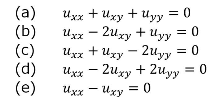 この中で双曲型の偏微分方程式はどれですか?また楕円型の偏微分方程式はとれですか?どちらも複数回答可能です