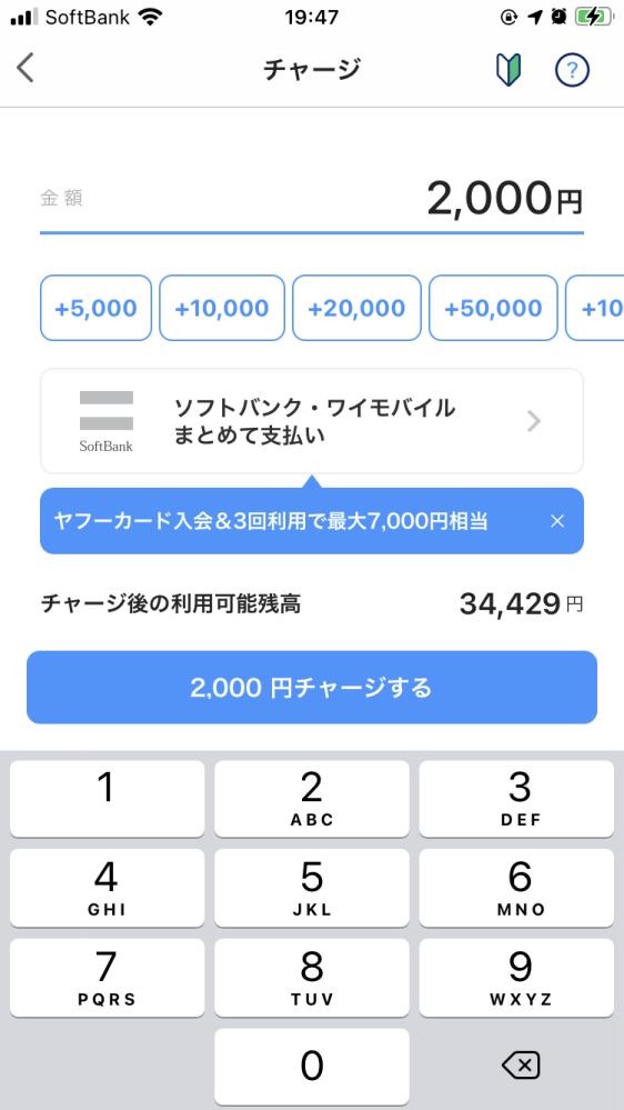 paypayのチャージ画面で、20,000円と入力して、チャージボタンを押したところ、チャージされたのですが、キャンセル方法はありますでしょうか?
