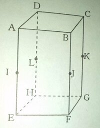四角すいの体積 AD=CD=3cm AE=6cmの直方体。 点I、J、K、Lそれぞれ 辺AE、BF、CG、DHの中点である。  四角すいJーEGKIの体積は?  説明もお願いします><