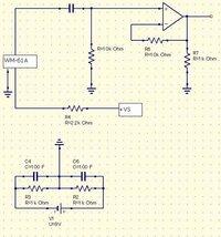 コンデンサマイク(WM-61A)とオペアンプの組み合わせた時の単電源での使用方法を教えて下さい。 電子工作初心者です。ネットを調べながらみようみまねで回路図を書きました。 図のコンデンサマイクの部分をショー...