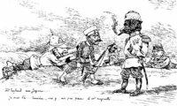 ビゴーの日露戦争の風刺画にセリフを入れるとしたら・・・ ビゴーの日露戦争の風刺画の日・露・英・独・仏に適切なセリフを入れるとしたらどのようなものでしょうか、お知恵をお貸しください。